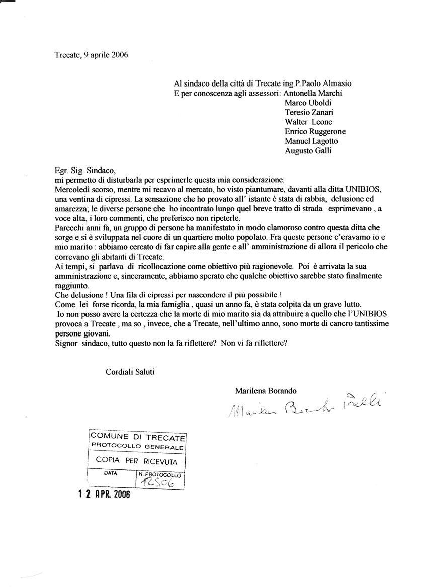 2006-04-09 Lettera al Sindaco